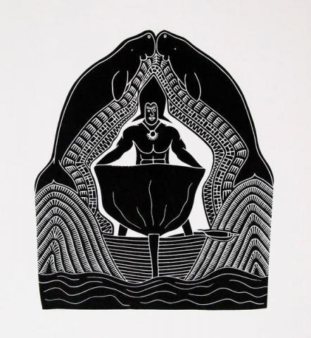 aiona tala gaidan badu art centre popha thaiyarn lino print