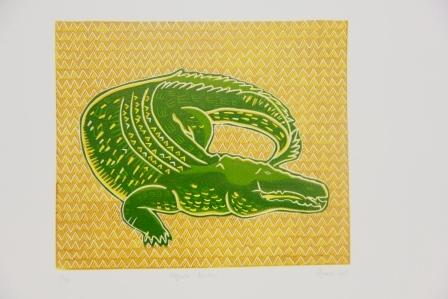 Lino Reduction Print, Crocodile, Koedal, Matilda Nona, Badu Art Centre