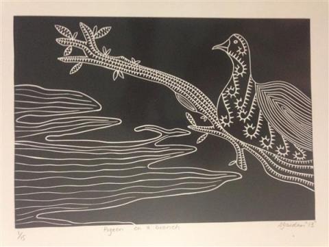sarah gaidan badu art centre artwork pigeon on the branch